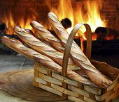 Baguette baked in the wood oven