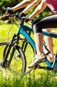 Mountain bikers wearing cycling shoes