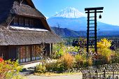 Traditional Japanese huts near Mt. Fuji, Japan.