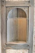 Old Wood Carved Exterior Wall Niche