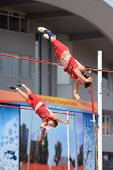 DONETSK, UKRAINE - JULY 12: Devin King (in front) and Paulo Benavides of USA compete in Pole Vault d