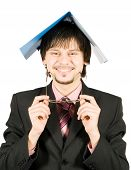 Happy Smiling Businessman With Folder Above His Head