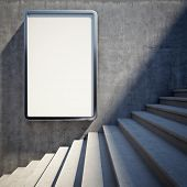 stock photo of stairway  - Blank advertising billboard on concrete wall with steps up - JPG