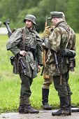 Borodino, Russia - 25 May, 2008: Three Men In Fascist Unifirm At Perfomance Of Real Second War Actio