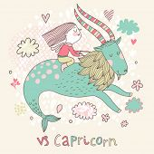 Cute zodiac sign - Capricorn. Vector illustration. Little girl riding on the big blue ibex in the sk