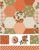 Autumn Patchwork Rose Seamless Patterns and Icons. Use as fills, digital paper, or print off onto fabric to create unique items.