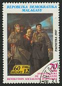 MADAGASCAR - CIRCA 1977: A stamp printed in Madagascar shows image of The Russian Revolution is the