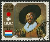 SHARJAH - CIRCA 1972  : A stamp printed in Sharjah shows image of the Frans Hals the Elder was a Dut