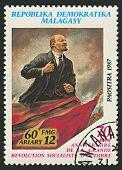 MADAGASCAR - CIRCA 1987: A stamp printed in Madagascar shows image of The Vladimir Ilyich Lenin; born Ulyanov was a Russian communist revolutionary, politician and political theorist, circa 1987.