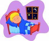 The boy cartoon was asleep in bed