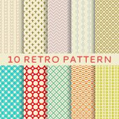 stock photo of  art  - 10 Retro different vector seamless patterns  - JPG