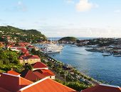 Aerial view at Gustavia Harbor with mega yachts at St Barts