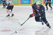 INNSBRUCK, AUSTRIA - JANUARY 21 Jared Fiegl (USA) and his team lose 7:5 to Canada in the men's ice h