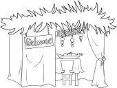 stock photo of sukkot  - A Vector illustration coloring page of a Sukkah decorated with ornaments for the Jewish Holiday Sukkot - JPG