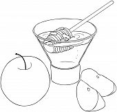 Rosh Hashanah Honey With Apples Coloring Page