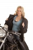 Woman Open Leather Jacket Sit On Motorcycle
