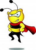 stock photo of bee cartoon  - A cartoon illustration of a cute Super Bee character - JPG