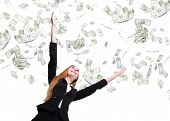 Business Woman Look Up Under Money Rain