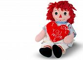 rag doll with red heart