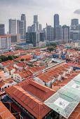 Singapore Chinatown With Modern Skyline