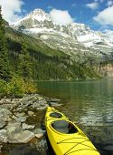 Yellow Kayak At Lake O'hara, Yoho National Park, Canada