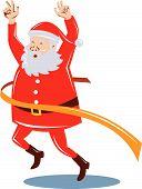 Papai Noel correr e cruzar a linha de chegada