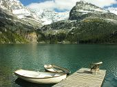 Wooden Boats At Lake O'hara, Yoho National Park, Canada