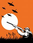 image of duck-hunting  - vector illustration of a Hunter aiming rifle at flying wild duc - JPG