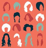 Vector Set: Retro Woman's Hair Style Silhouettes