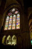 Stained-glass Window In Transept Of Santa Maria De Leon Cathedral In Leon. Spain