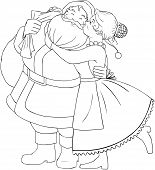 Mrs Claus Kisses Santa On Cheek And Hugs Coloring Page