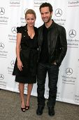 Becki Newton and Chris Diamantopoulos at day one of the 2007 Mercedes-Benz Fashion Week Fall Collect
