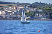 picture of dartmouth  - yacht sailing on the River Dart in Devon - JPG
