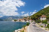 Main Coastal Road In Old Perast, Bay Of Kotor, Montenegro