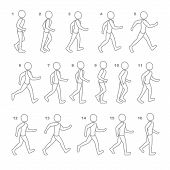������, ������: Phases of Step Movements Man in Walking Sequence for Game Animation