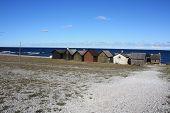 Fishing huts Gotland Sweden