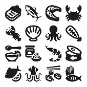 stock photo of octopus  - Set of black flat icons about seafood - JPG