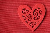 Valentine heart on red background