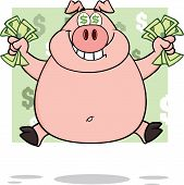 Smiling Rich Pig With Dollar Eyes And Cash Jumping Over Green