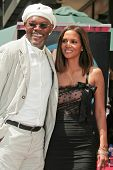 Samuel Jackson and Halle Berry at the ceremony honoring Halle Berry with the 2,333rd star on the Hol