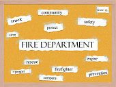 Fire Department Corkboard Word Concept