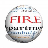 Fire Department 3D Sphere Word Cloud Concept