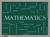 stock photo of fraction  - Mathematics Word Cloud Concept on a Blackboard with great terms such as fractions algebra calculus and more - JPG