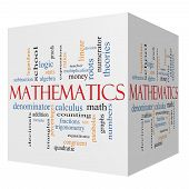 stock photo of fraction  - Mathematics 3D cube Word Cloud Concept with great terms such as fractions algebra calculus and more - JPG