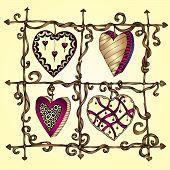 Original drawing doodle hearts.