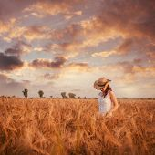 stock photo of toned  - Woman in the wheat field, farmer with crop. Vintage toned