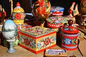 Traditional Russian wooden painted souvenirs