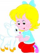 image of caress  - Little girl caresses a small white goatling - JPG