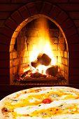 Pizza Quatro Formaggi And Open Fire In Stove