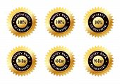 Set of Six Gold Seals of Approvals (Quality, Satisfaction and Money Back Guarantee)